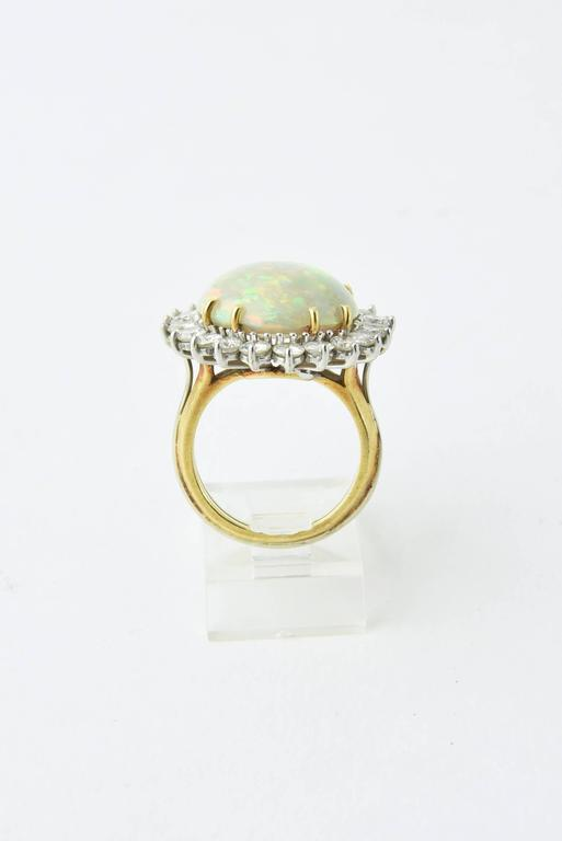 Fine Gray Crystal Australian Opal Diamond Two Color Gold Ring In Excellent Condition For Sale In Miami Beach, FL