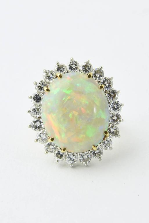 Women's Fine Gray Crystal Australian Opal Diamond Two Color Gold Ring For Sale