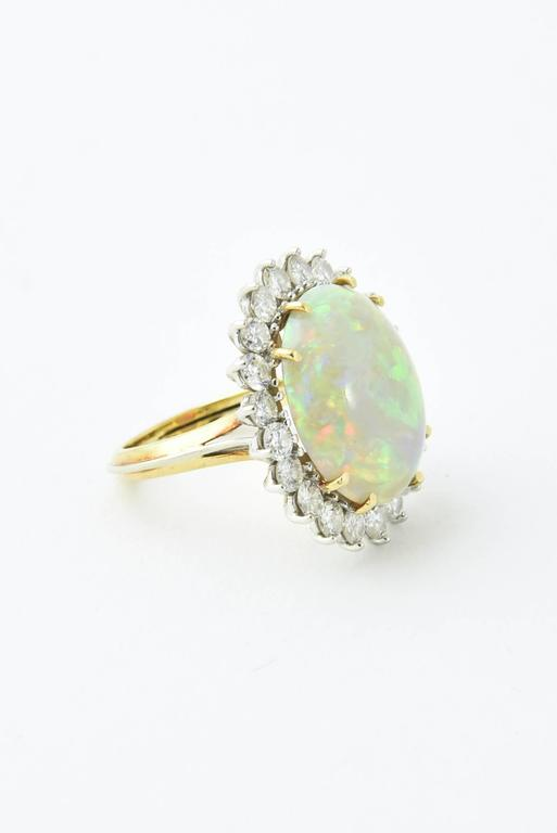 Fine Gray Crystal Australian Opal Diamond Two Color Gold Ring For Sale 3