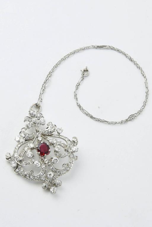 Belle Époque Black Starr and Frost Belle Epoque Spinel Diamond Pendant Brooch For Sale