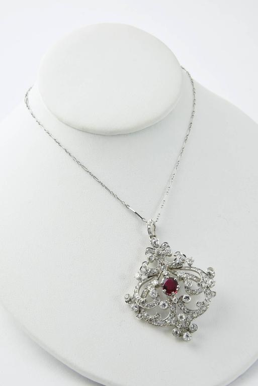 Women's Black Starr and Frost Belle Epoque Spinel Diamond Pendant Brooch For Sale
