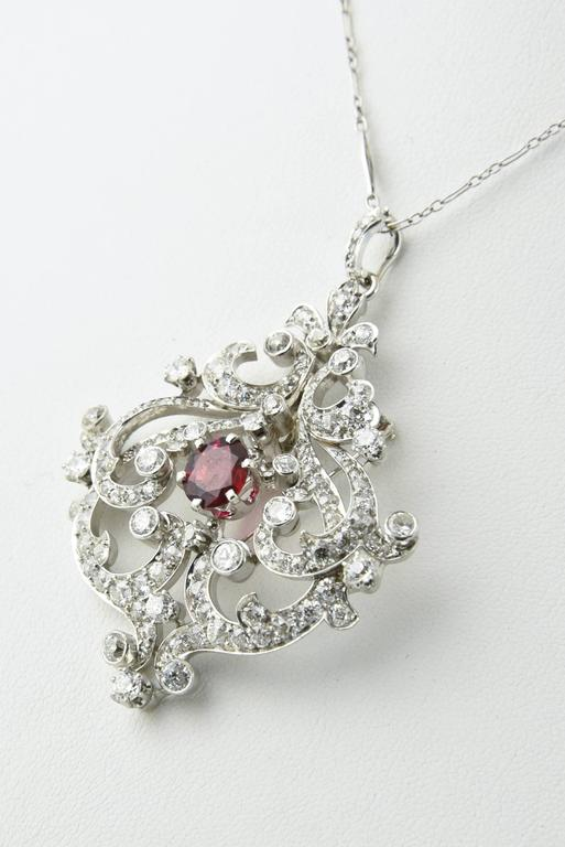 Black Starr and Frost Belle Epoque Spinel Diamond Pendant Brooch For Sale 1