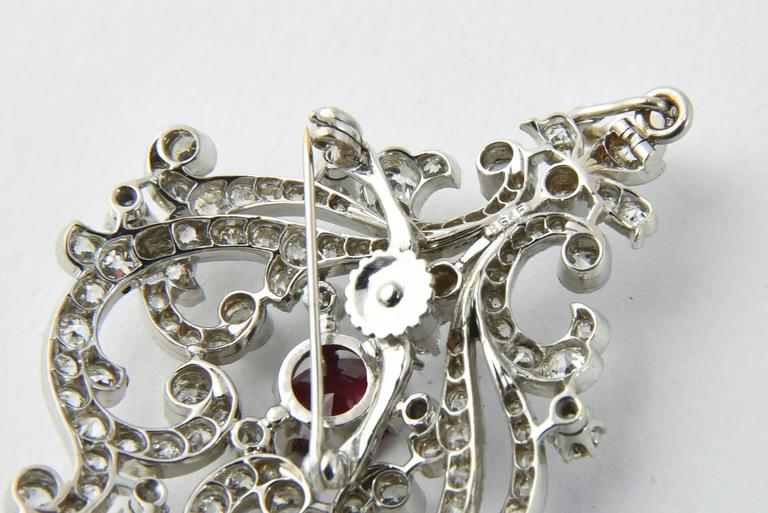 Black Starr and Frost Belle Epoque Spinel Diamond Pendant Brooch For Sale 2