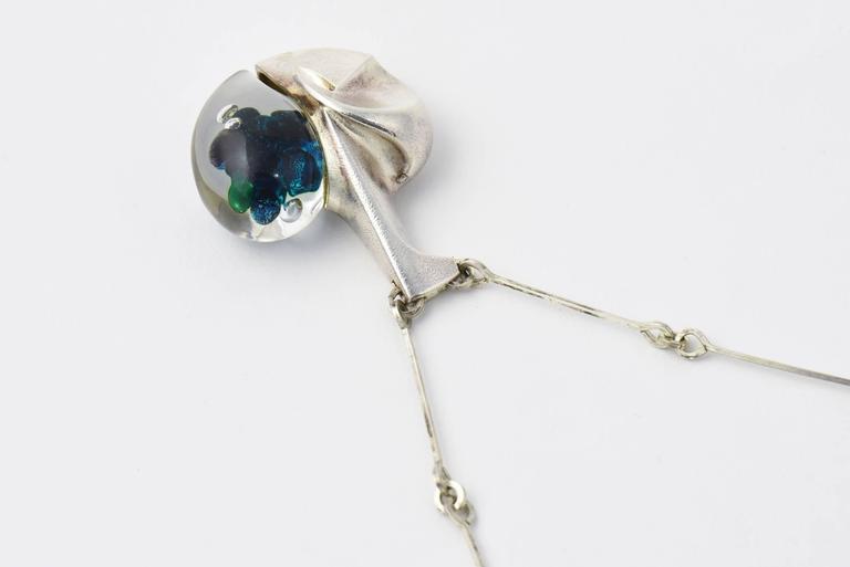 Modernist Organic Lapponia Björn Weckström Space Apple Silver Acrylic Necklace For Sale 3