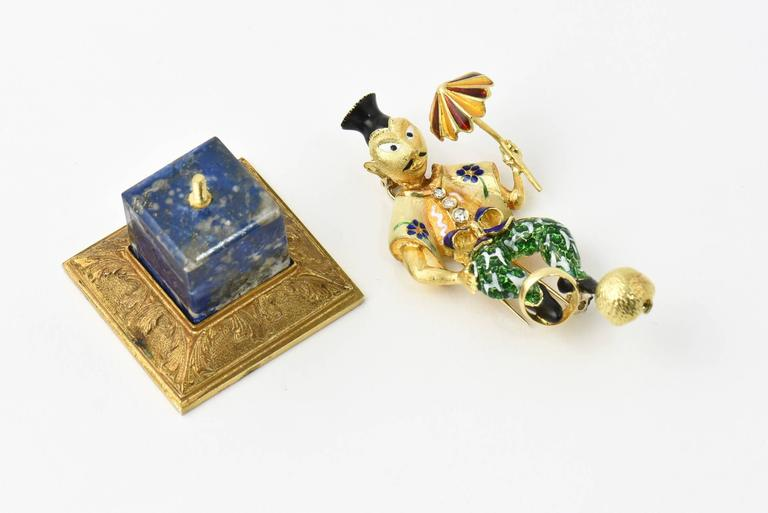 Italian Diamond  Enamel Circus or Street Performer Brooch  Statue and Stand  3