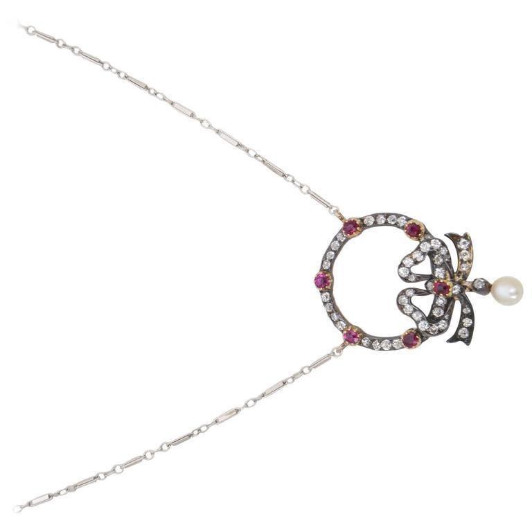 Women's Edwardian Belle Époque Ruby Diamond Bow Necklace For Sale