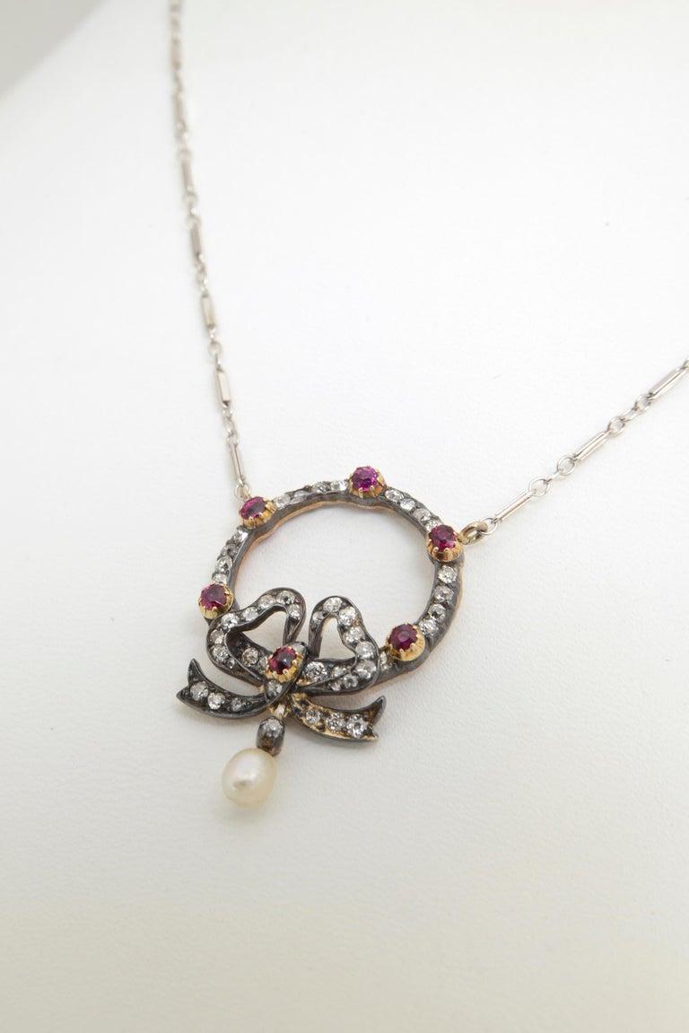 Edwardian Belle Époque Ruby Diamond Bow Necklace For Sale 1