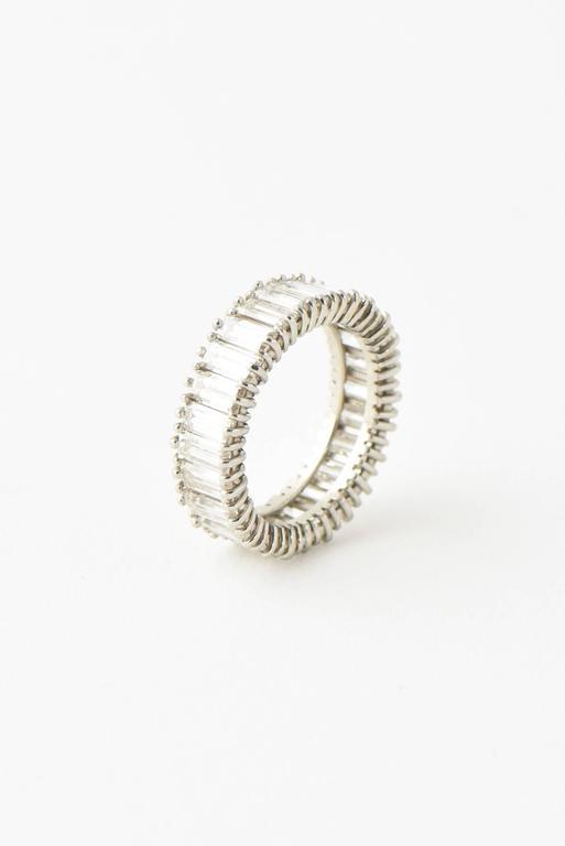 Mid-20th Century 5 Carat Emerald Cut Diamond Platinum Eternity Band Ring For Sale 5
