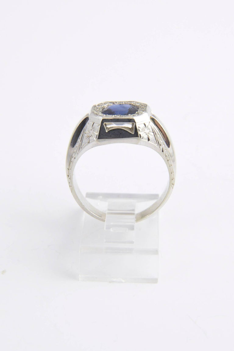 Art Deco Sapphire and Diamond White Gold Ring For Sale