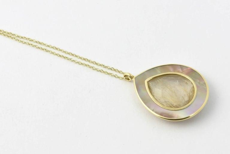 Ippolita Rutilated Quartz, Mother-of-Pearl Gold Ondine Teardrop Necklace 4