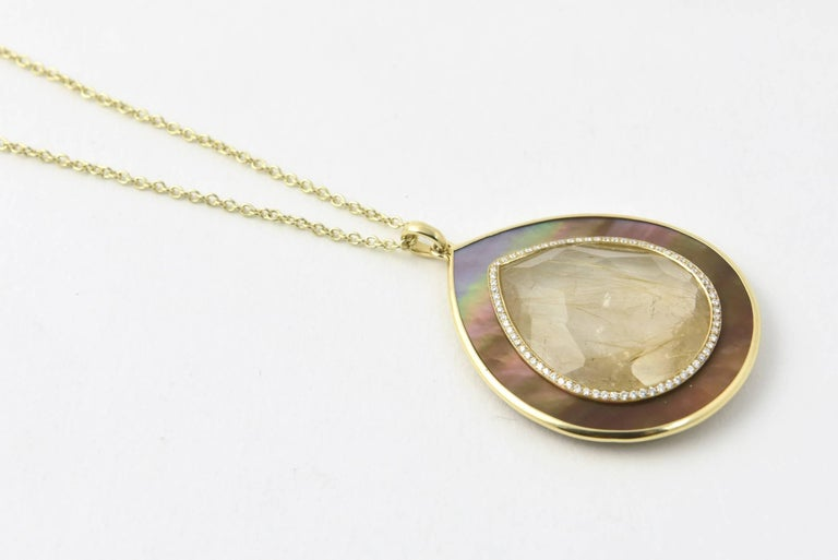 Ippolita Rutilated Quartz, Mother-of-Pearl Gold Ondine Teardrop Necklace In Excellent Condition For Sale In Miami Beach, FL