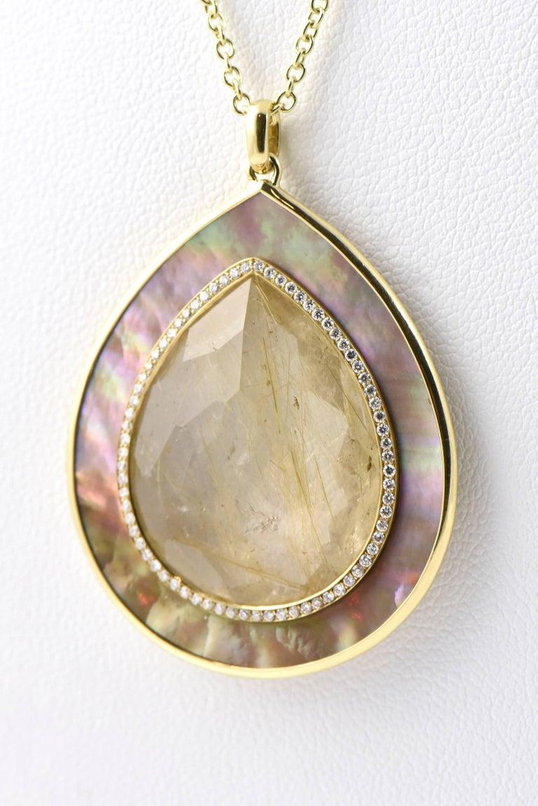 Ippolita Rutilated Quartz, Mother-of-Pearl Gold Ondine Teardrop Necklace 7