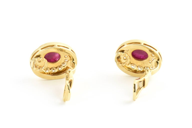 Burma Ruby and Diamond Swirl Gold Earclips For Sale 1