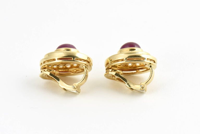 Burma Ruby and Diamond Swirl Gold Earclips For Sale 2