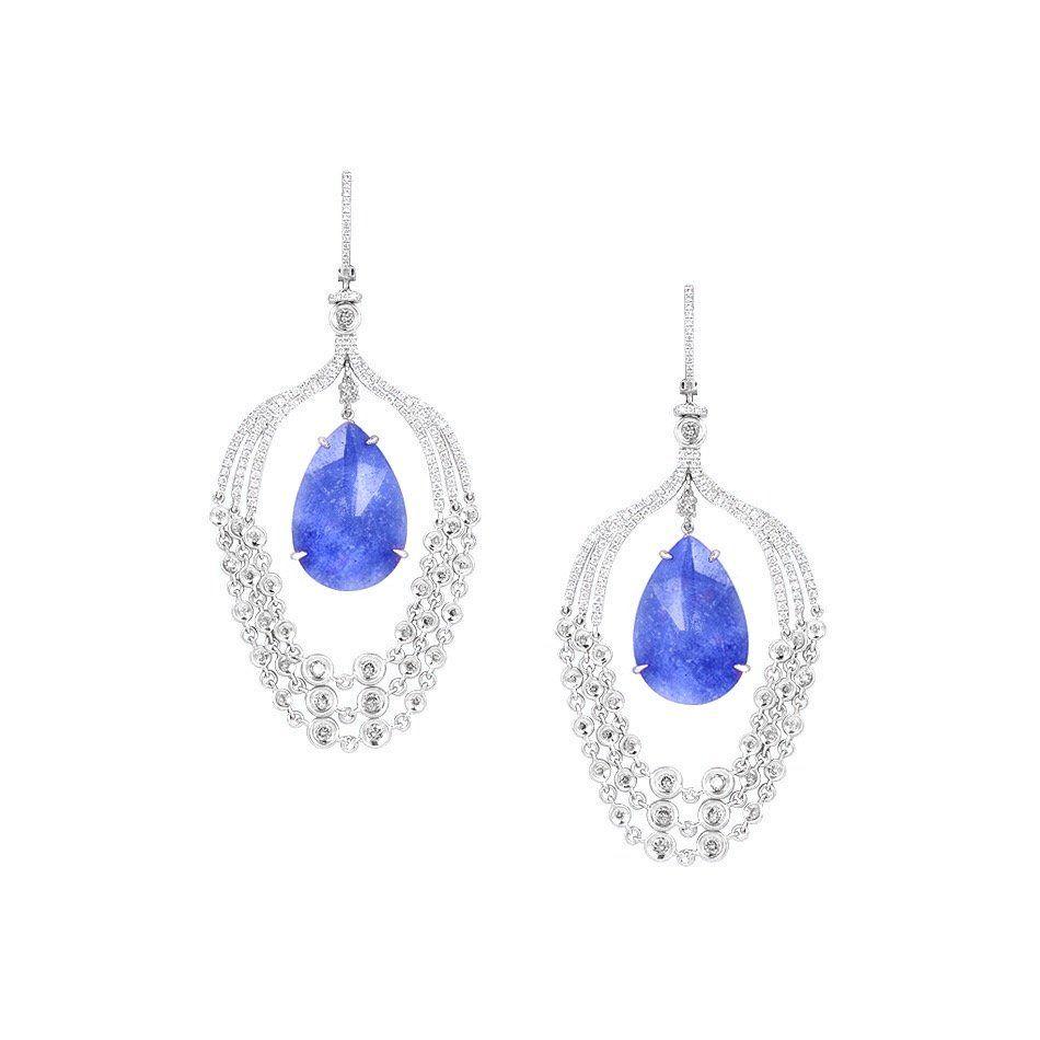 Natkina Fancy Blue Tanzanite Diamond White 18 Karat Gold Chandelier Earrings