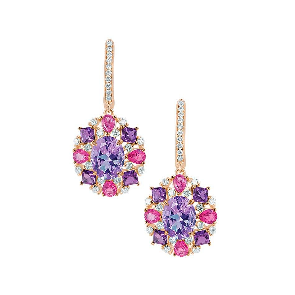 Natkina Flower Diamond Tourmaline Amethyst Earrings 18 Karat Rose  Gold