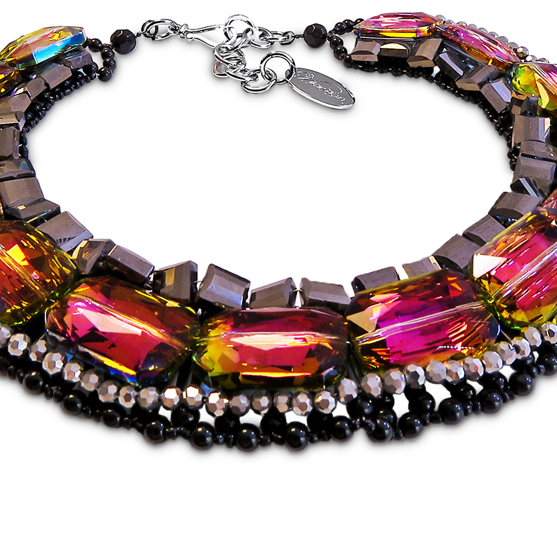 Vilaiwan Necklace with Rainbow Crystal, Hematite and Onyx, Rare Piece