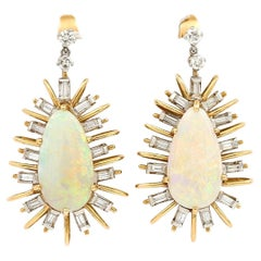 Vintage 18ct Gold Large Star Burst Opal and Diamond Drop Earrings, Circa 1960