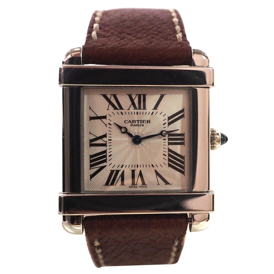 Cartier Platinum: Cartier Platinum Tank Chinoise Manual Wind Wristwatch Ref