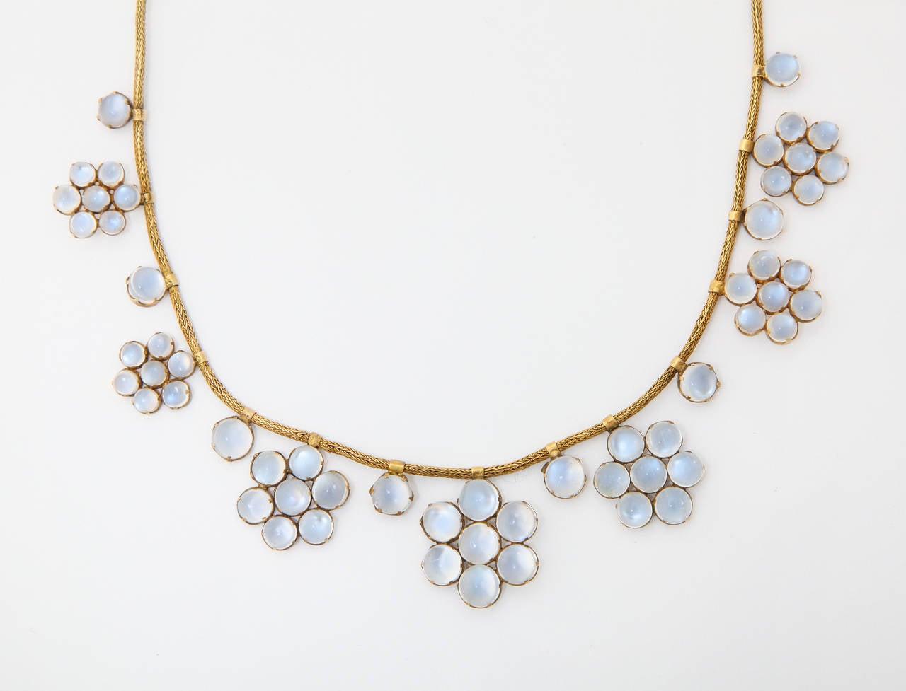 Art Nouveau Antique Moonstone Gold Necklace For Sale