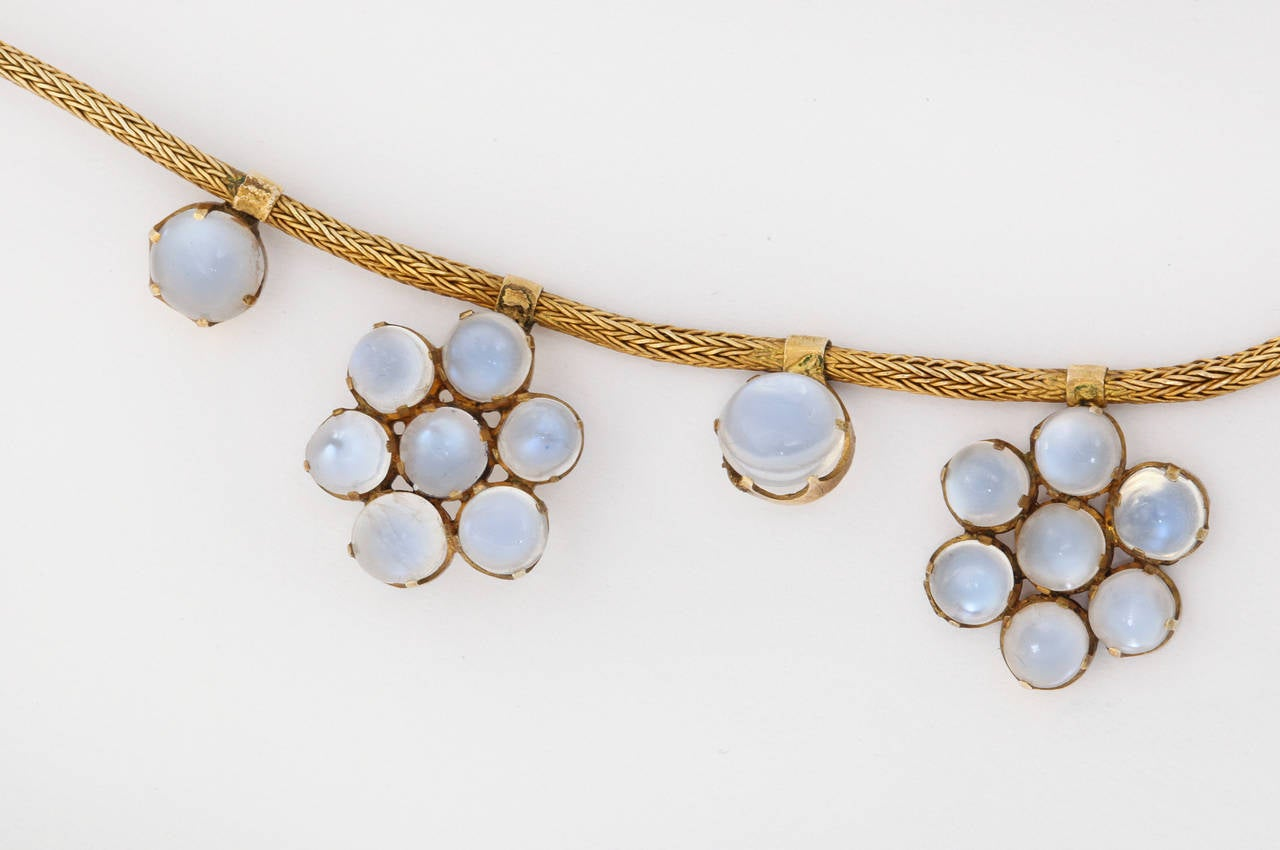 Antique Moonstone Gold Necklace In Excellent Condition For Sale In Bal Harbour, FL