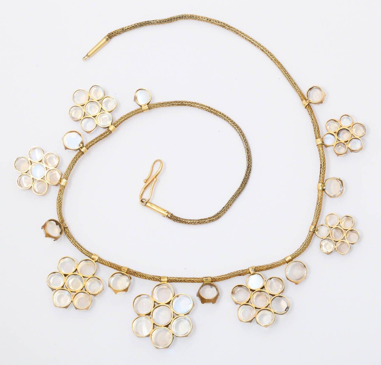 Women's Antique Moonstone Gold Necklace For Sale