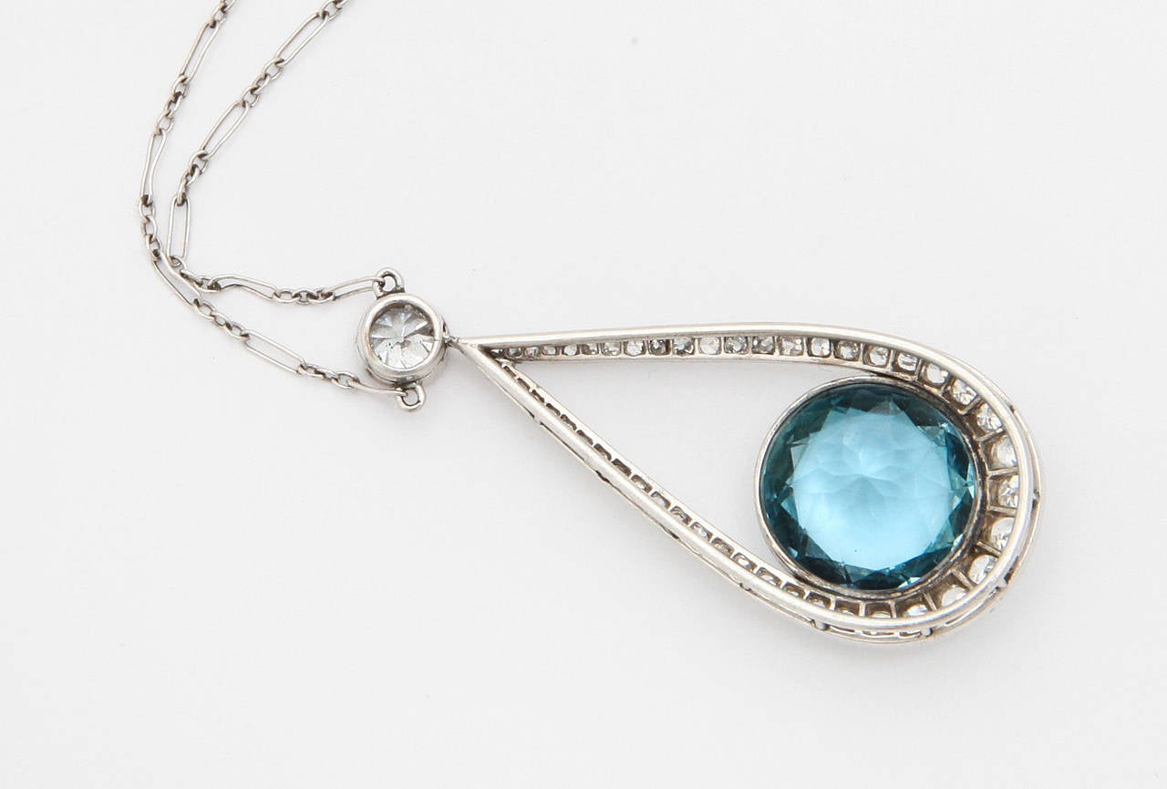 Art Deco Aquamarine Diamond Platinum Pendant Necklace 4