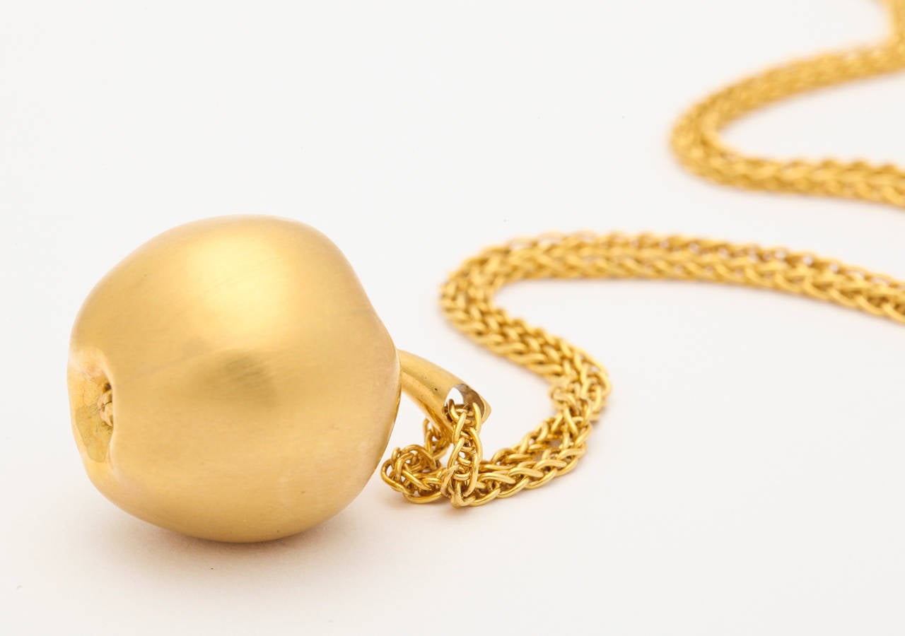 Long Gold Chain With Apple Pendant For Sale 4