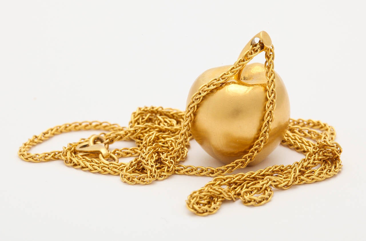 Long Gold Chain With Apple Pendant 4