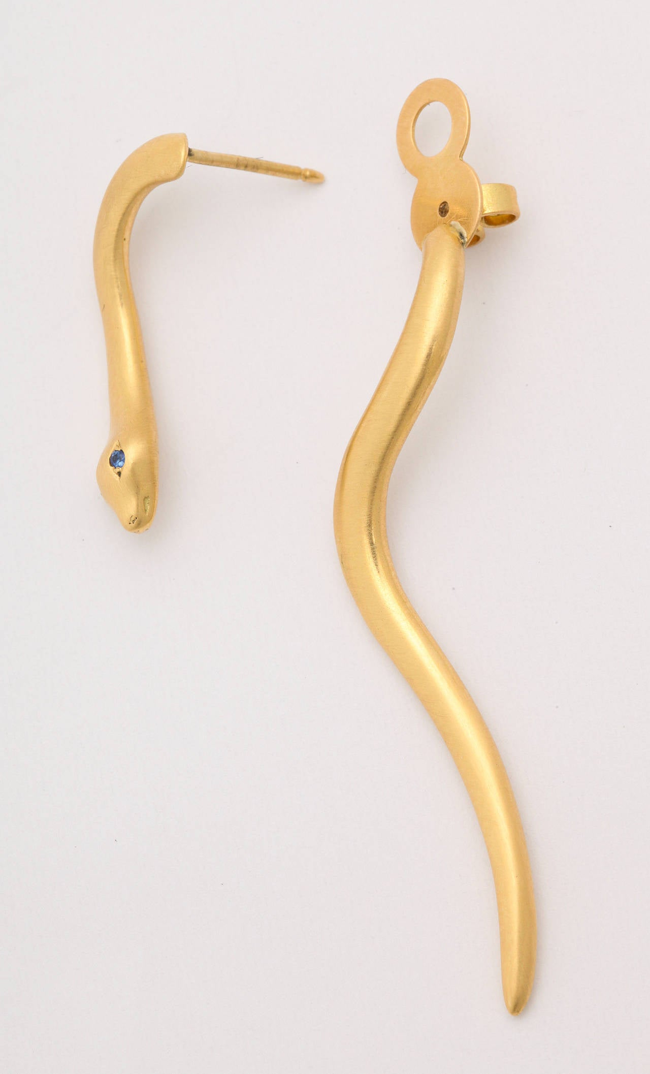 Golconda Unique Sapphire Gold Snake Earrings 3