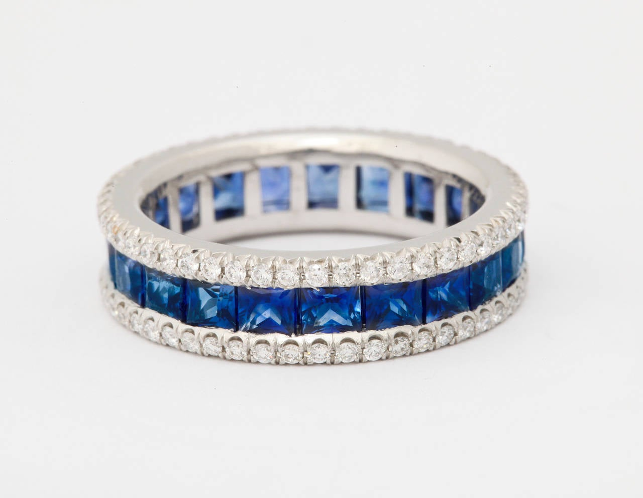 Women's Sapphire Diamond Platinum Eternity Band Ring For Sale