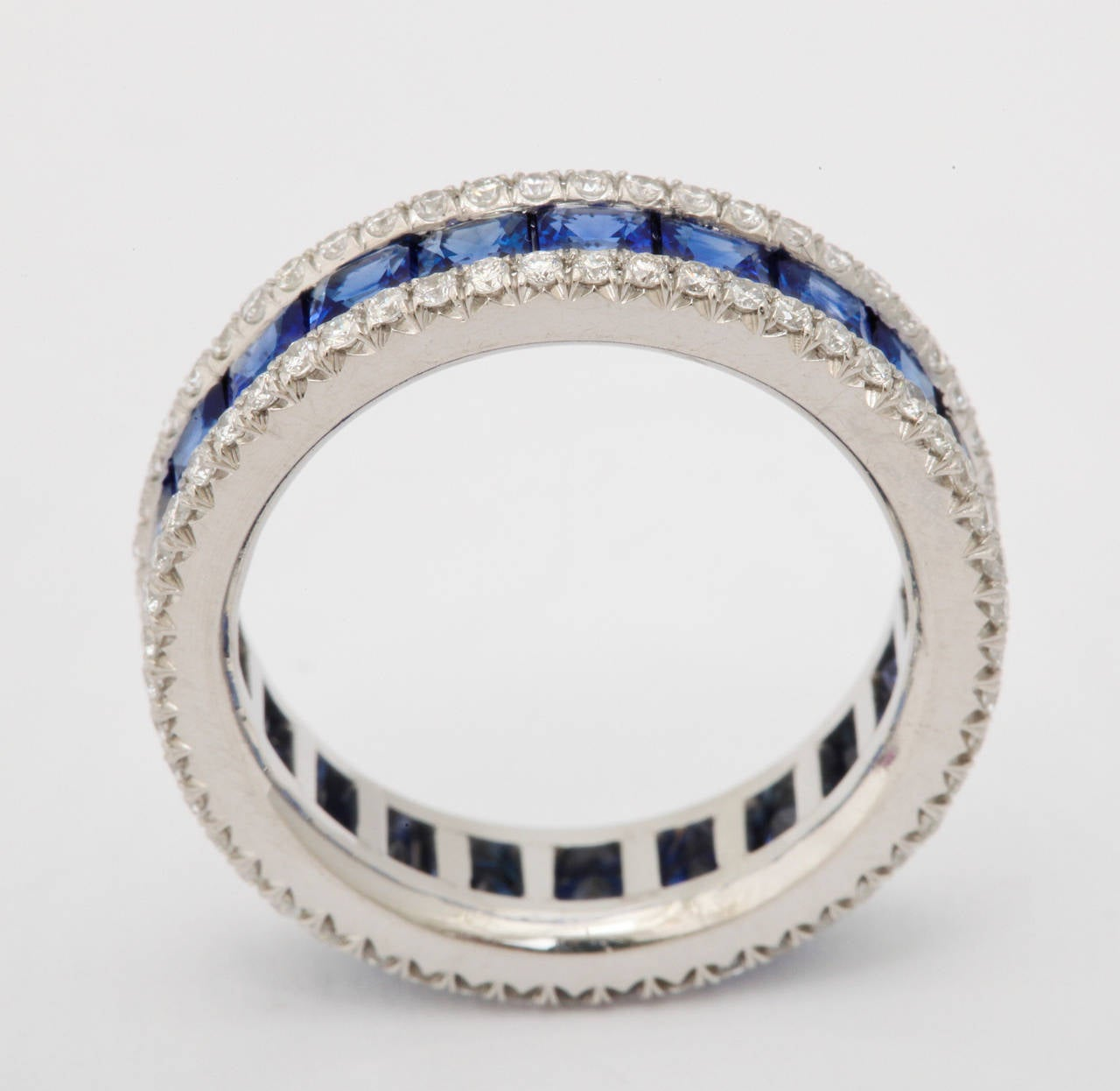 Sapphire Diamond Platinum Eternity Band Ring For Sale 1