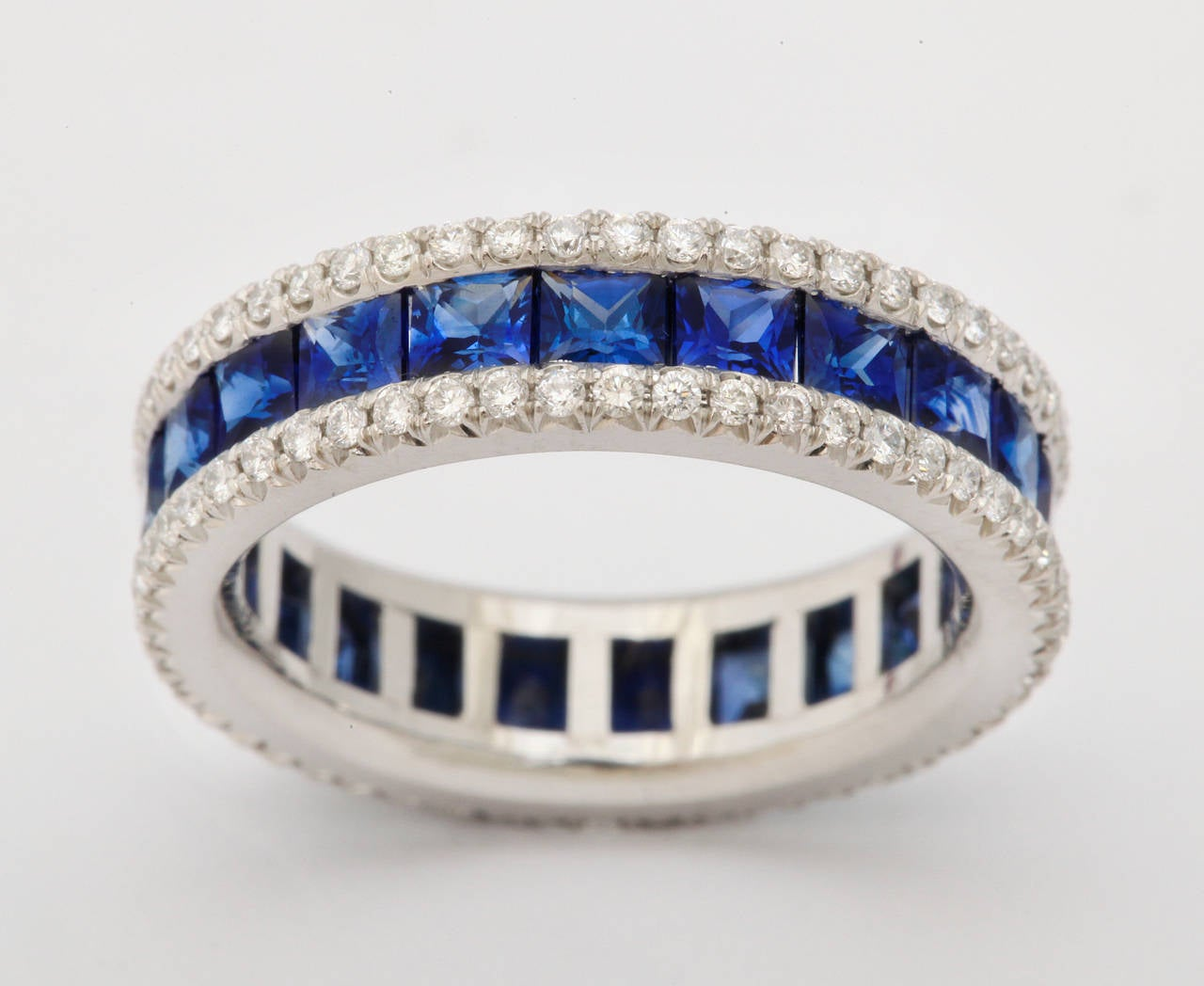 Sapphire Diamond Platinum Eternity Band Ring In As New Condition For Sale In Bal Harbour, FL