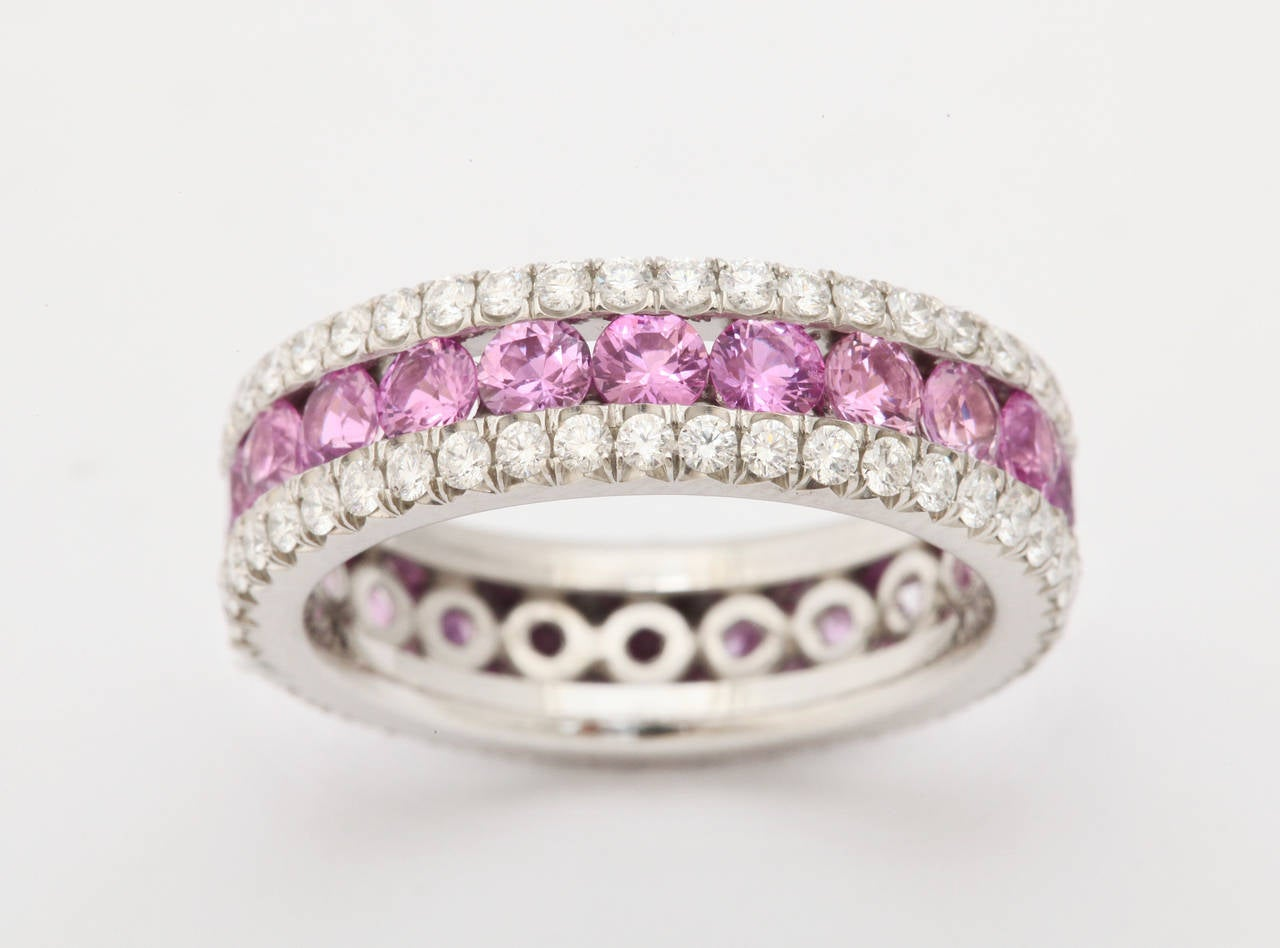 Pink Sapphire Diamond Platinum Eternity Band Ring at 1stdibs