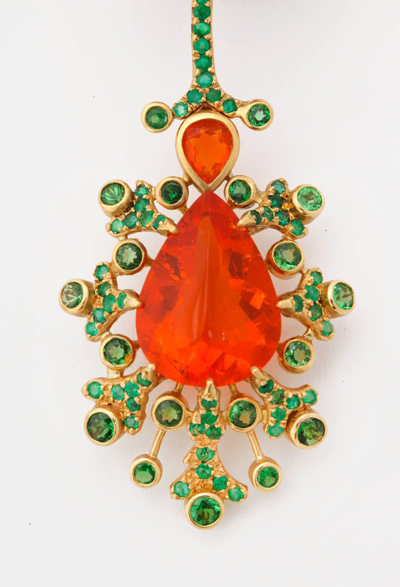 Women's Marilyn Cooperman Fire Opal Tsavorite Garnet Gold Earclips For Sale
