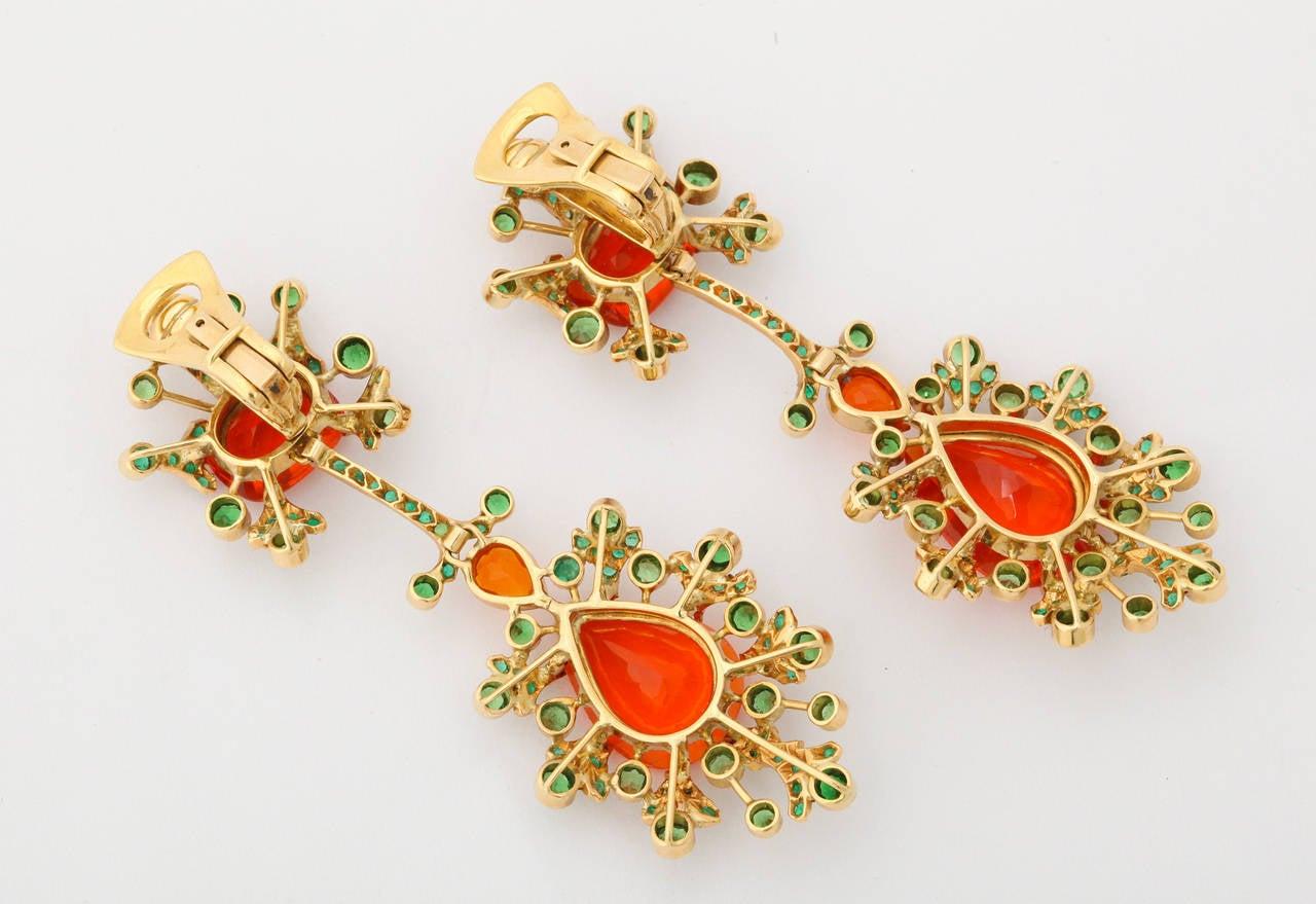 Marilyn Cooperman Fire Opal Tsavorite Garnet Gold Earclips For Sale 2