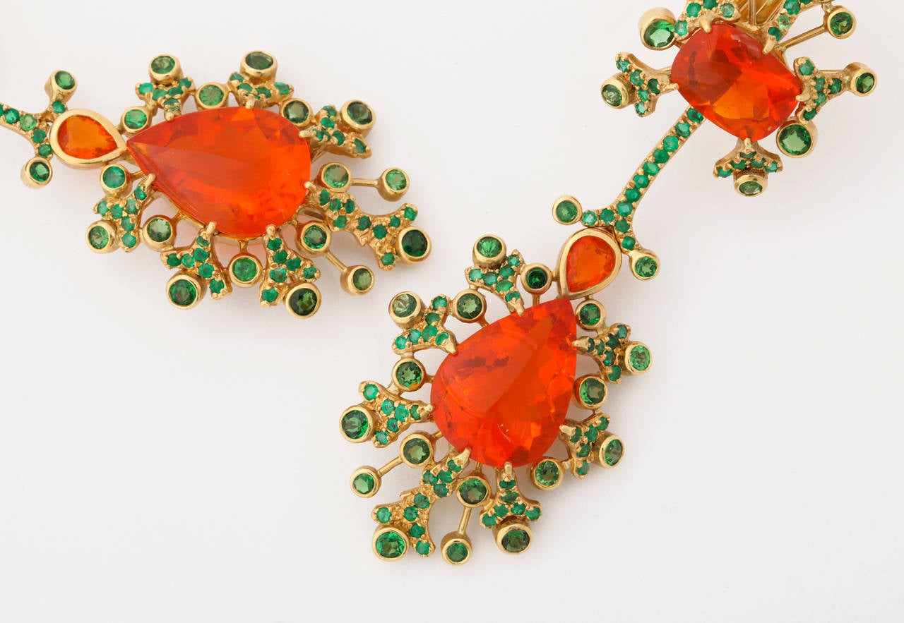 Marilyn Cooperman Fire Opal Tsavorite Garnet Gold Earclips In As new Condition For Sale In Bal Harbour, FL
