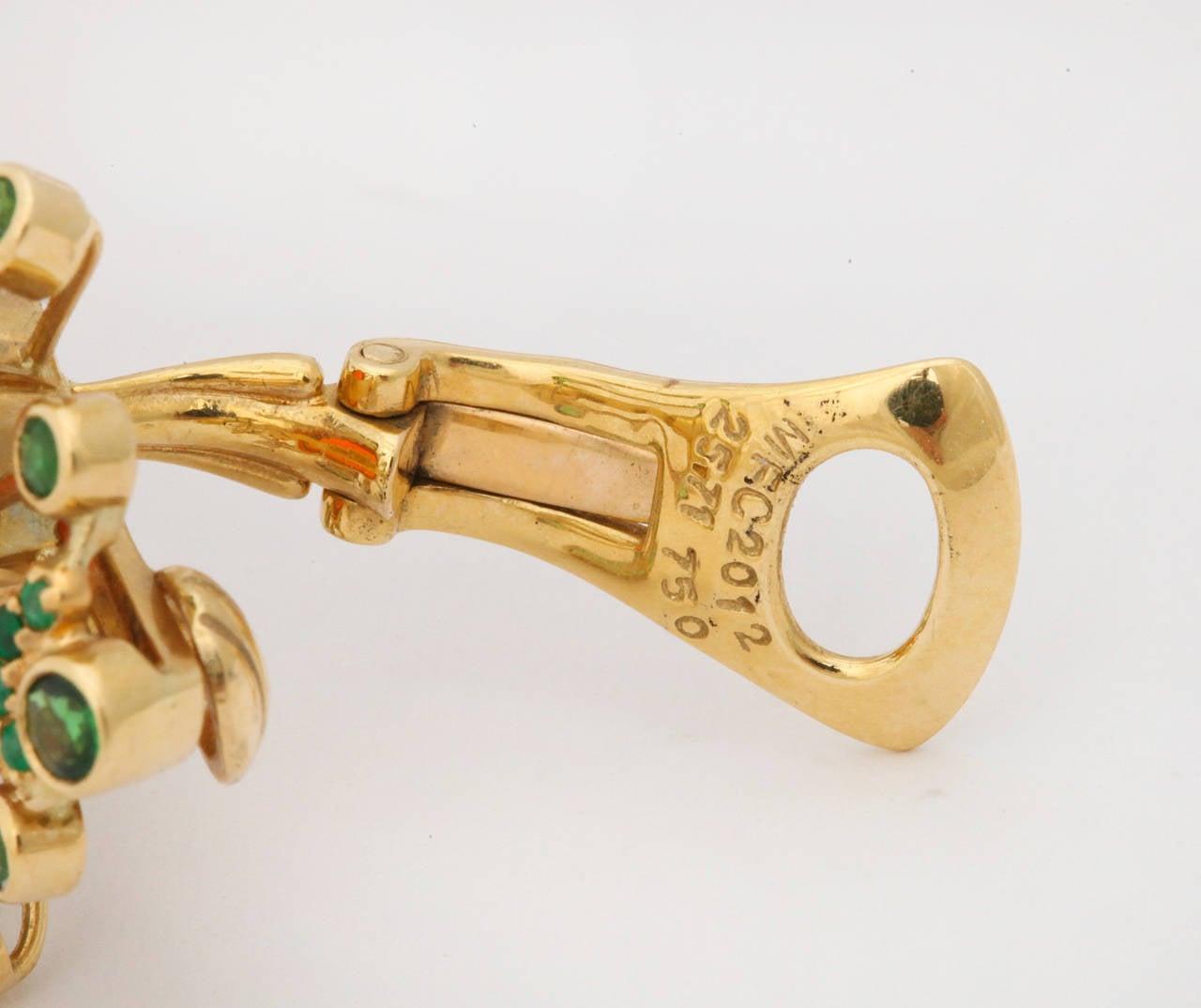 Marilyn Cooperman Fire Opal Tsavorite Garnet Gold Earclips For Sale 1