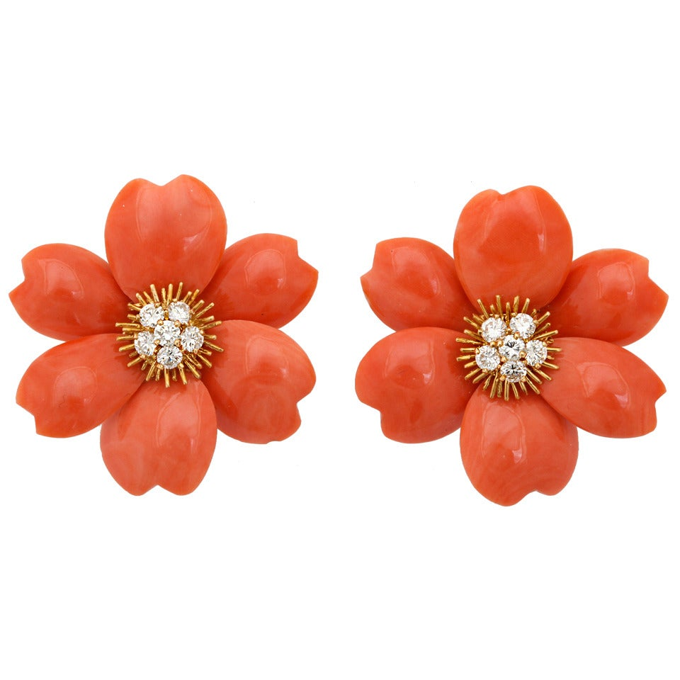 Van Cleef & Arpels Coral Diamond Gold Rose de Noel Earclips 1