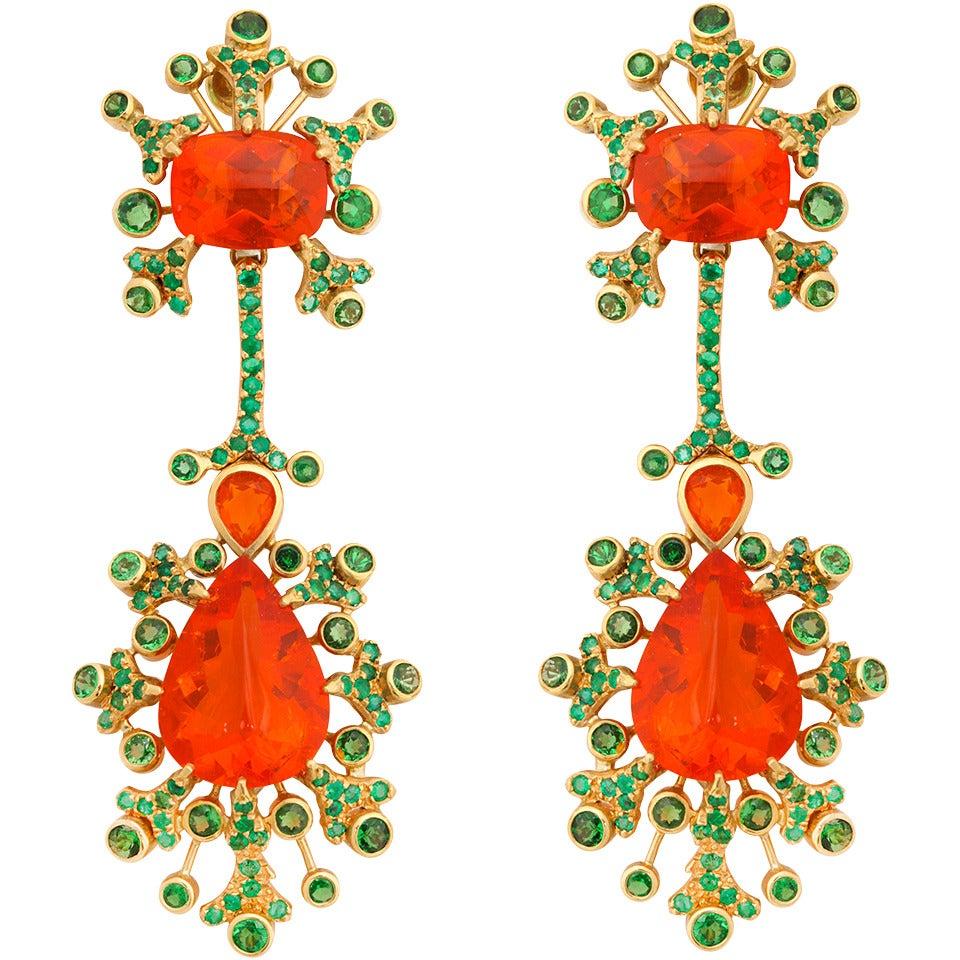 Marilyn Cooperman Fire Opal Tsavorite Garnet Gold Earclips For Sale