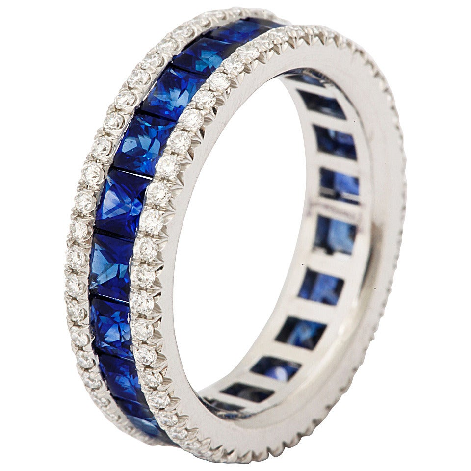Sapphire Diamond Platinum Eternity Band Ring For Sale