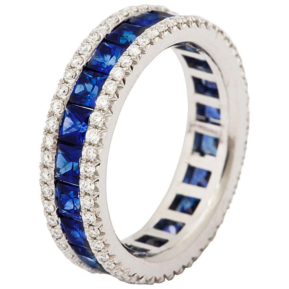 Sapphire Diamond Platinum Eternity Band Ring At 1stdibs