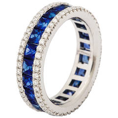 Sapphire Diamond Platinum Eternity Band Ring