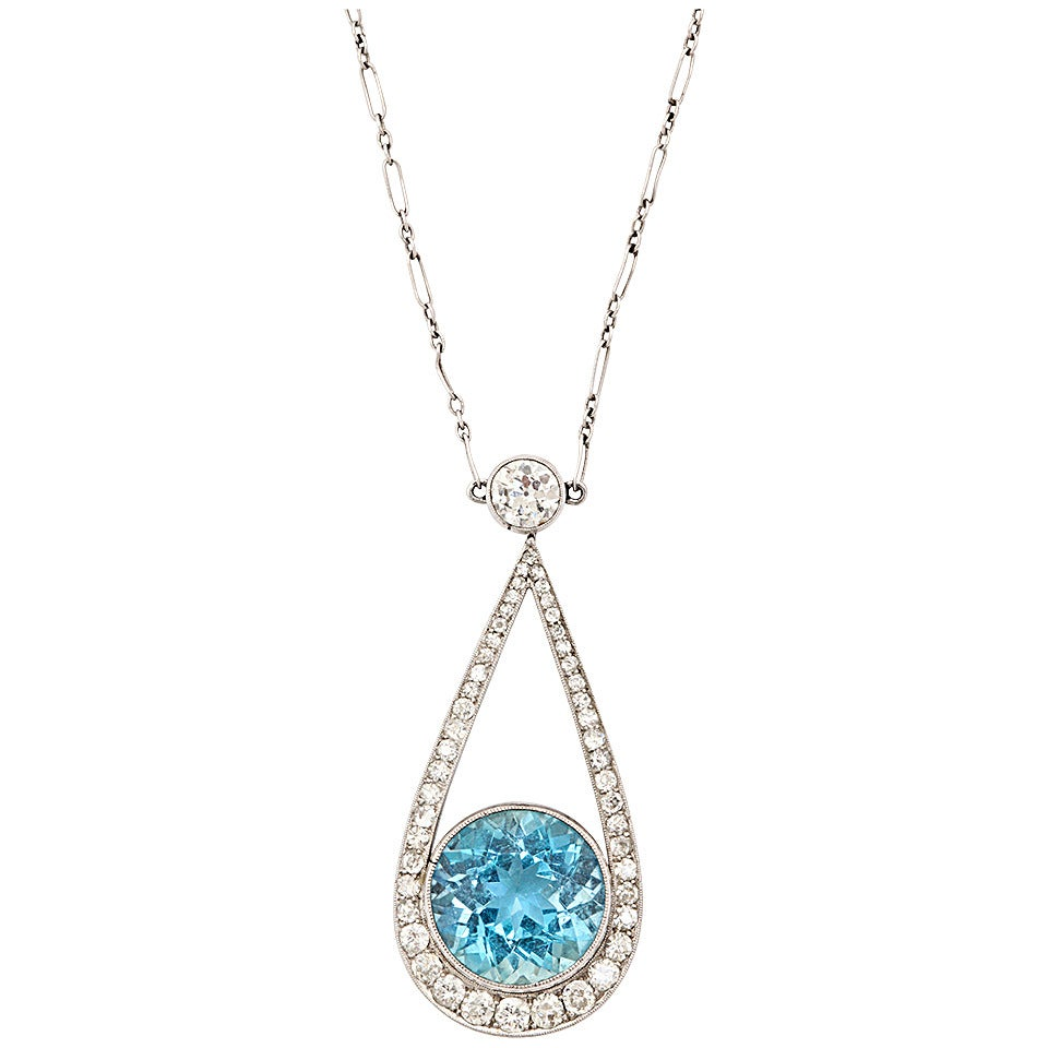 Art Deco Aquamarine Diamond Platinum Pendant Necklace For ...