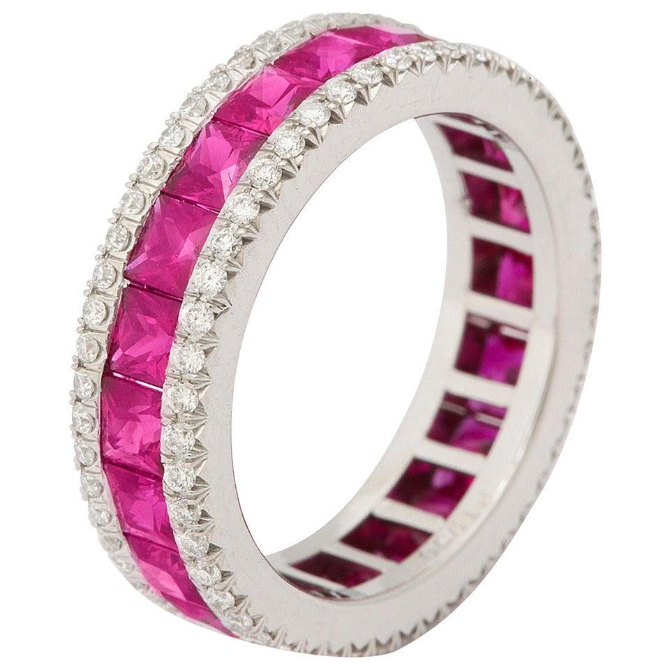 Ruby Diamond Platinum Eternity Band Ring