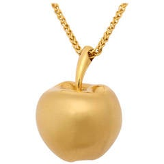 Long Gold Chain With Apple Pendant
