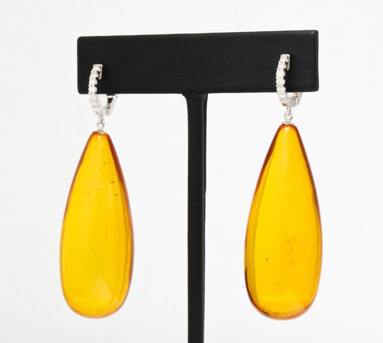 Long Amber Diamond Gold Drop Earrings 3