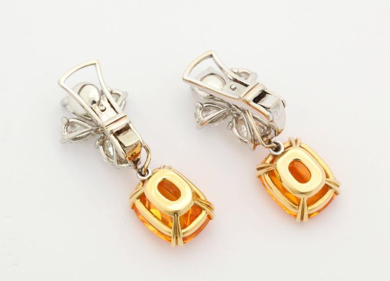 Finest Mandarin Garnet Diamond Platinum Earrings For Sale 1