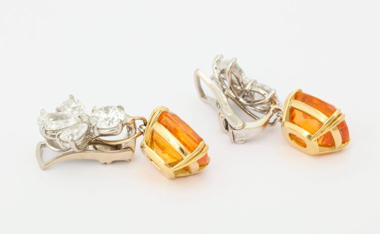 Finest Mandarin Garnet Diamond Platinum Earrings For Sale 2