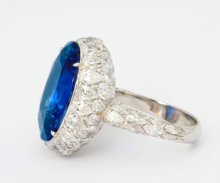 Women's Natural No Heat Ceylon 20 Carat Sapphire Diamond Ring For Sale